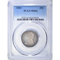 1834 CAPPED BUST QUARTER  PCGS MS-63