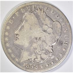 1892-CC MORGAN DOLLAR  VG
