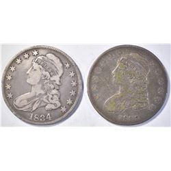 (2) CAPPED BUST HALF DOLLARS 1834 VF &