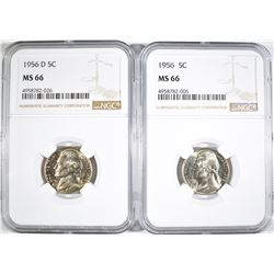 1956 & 56-D JEFFERSON NICKELS, NGC MS-66