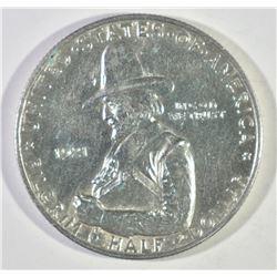 1921 PILGRIM COMMEM HALF DOLLAR, GEM BU