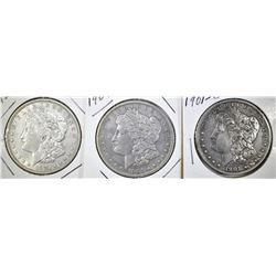 1901-O, 04 & 21 CIRC MORGAN DOLLARS FINE OR BETTER