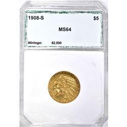1908-S $5 INDIAN GOLD PCI GEM BU
