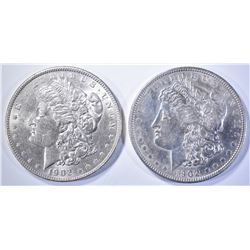 (2) 1902 MORGAN DOLLARS  AU