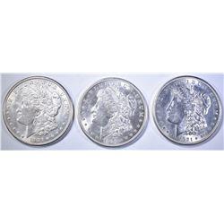 1921-S & (2) 1921-D MORGAN DOLLARS  BU