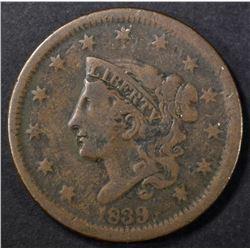 1839 HEAD OF 38 CORONET LARGE CENT, VF