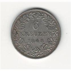 1848 German 6 Kreuzer