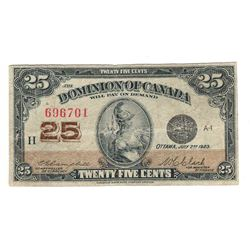 1923 Canada 25 Cent Note