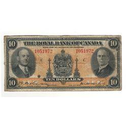 1935 Canada 10 Dollar Note