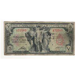 1935 Canada 5 Dollar Note