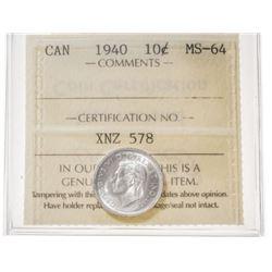 1940 Canada 10 Cent