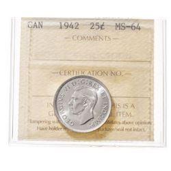 1942 Canada 25 Cent