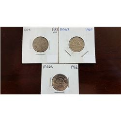 1922 and 1960 and 1962 Canada 5 Cent Coin Set