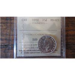 1950 Canada 25 Cent