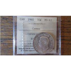 1940 Canada 50 Cent RARE CAMEO