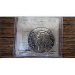 1950 Canada 1 Dollar RARE VARIETY