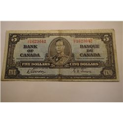 1935 Canada 5 Dollar Bank Note