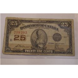 1923 Canada 25 Cent Bank Note