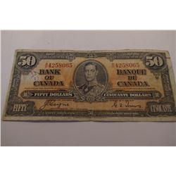 1937 Canada 50 Dollar Bank Note