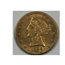 1899-S USA 5 Dollar Gold Coin