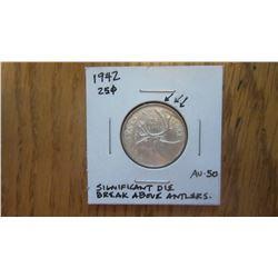 1942 Canada 25 Cent ERROR COIN