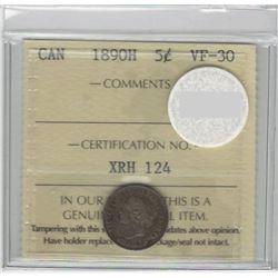 1890-H Canada 5 Cent