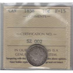 1858 Canada 10 Cent