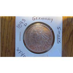 1893-D Germany 5 Mark