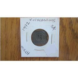 1942 Netherlands 5 Cent (RARE)