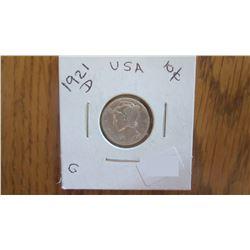 1921-D USA 10 Cent