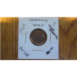 1937 Germany (NAZI) 1 Reich Pfennig