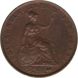 1853 Great Britain 1/2 Penny