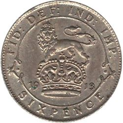 1913 Great Britain 6 Pence