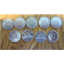 9 Canada 5 Cent Coin Set