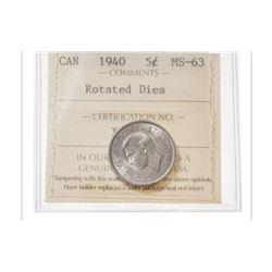 1940 Canada 5 Cent