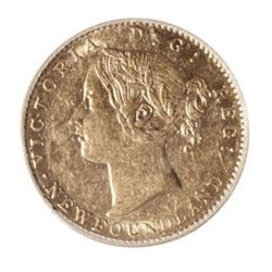 1872 Newfoundland 2 Dollar Gold Coin