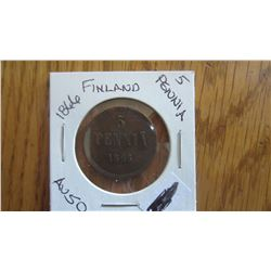 1866 Finland 5 Pennia