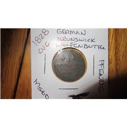 1828 German Brunswick Wolfenbuttel 1 Pfennig