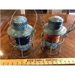 GR OF 2, CNR LANTERNS W / BLUE AND AMBER LENS