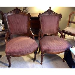 UPHOLSTER EASTLAKE STYLE ARM CHAIRS