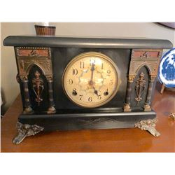 ANTIQUE SESSIONS MANTLE CLOCK WITH KEY