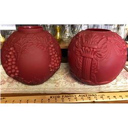 GR OF 2, RED SATIN GLASS BANQUET LAMP GLOBES