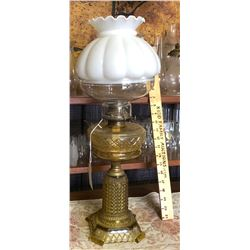ANTIQUE BRASS AND GLASS OIL LAMP
