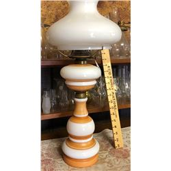 ANTIQUE SATIN GLASS BANQUET LAMP