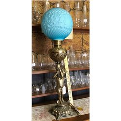 ANTIQUE BRASS BASE BANQUET LAMP