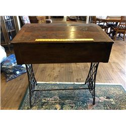 ANTIQUE WROUGHT IRON BASED DESK