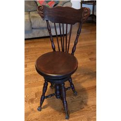 ANTIQUE HIGH BACK PIANO STOOL WITH GLASS BALL CLAW FEET - DARK WALNUT FINISH - ADJUSTABLE HEIGHT