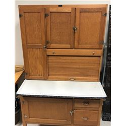 ANTIQUE HOOSIER STYLE KITCHEN CABINET WITH ENAMEL WORK SURFACE