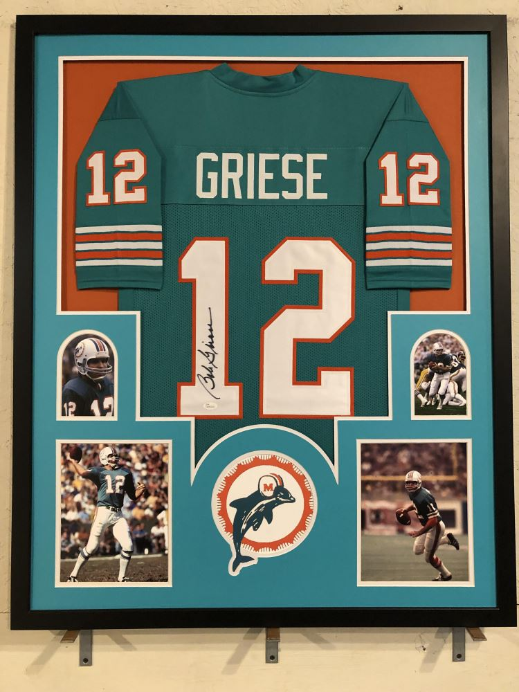 premium selection 59505 8ebc1 Bob Griese Signed Dolphins 34x42 Custom Framed Jersey ...