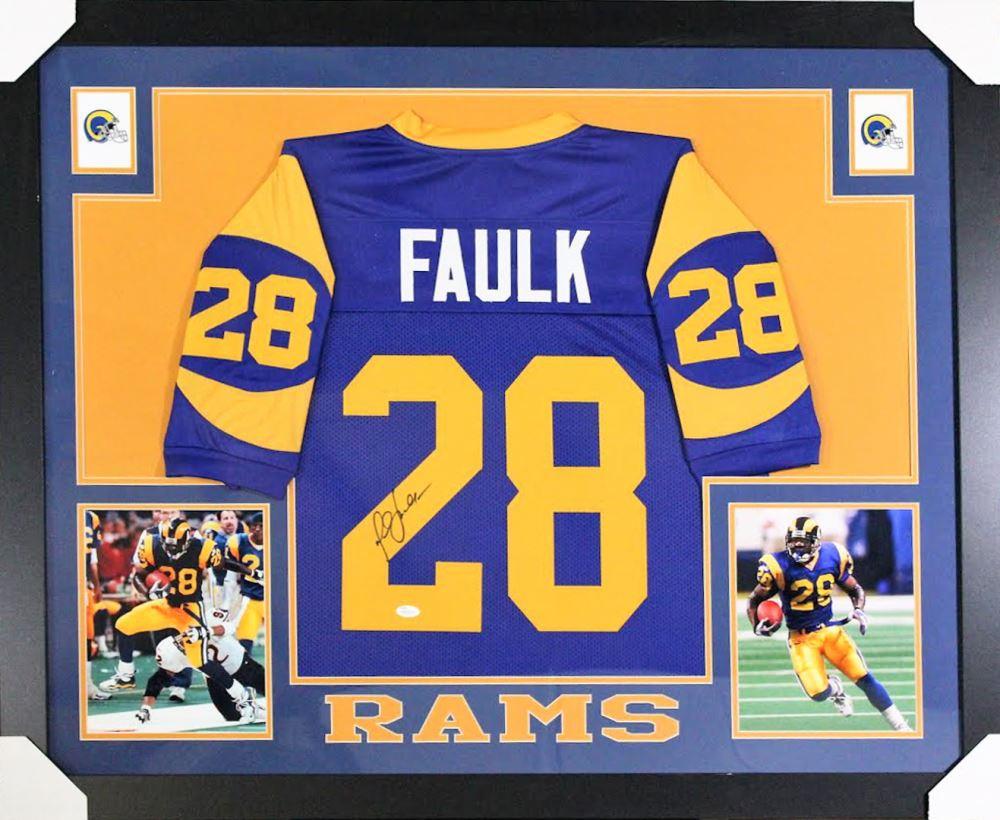 f637225e Marshall Faulk Signed St. Louis Rams 35x43 Custom Framed Jersey ...